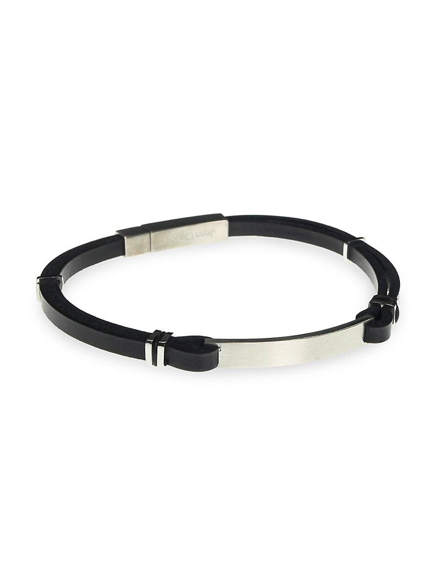 Men's Adjustable Leather & Stainless Steel Bracelet