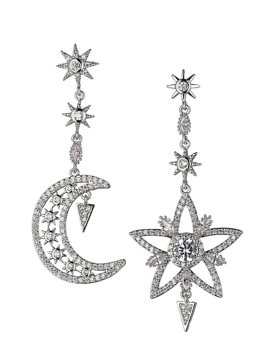 Women's Luxe Silvertone & Crystal Star & Moon Mismatched Drop Earrings