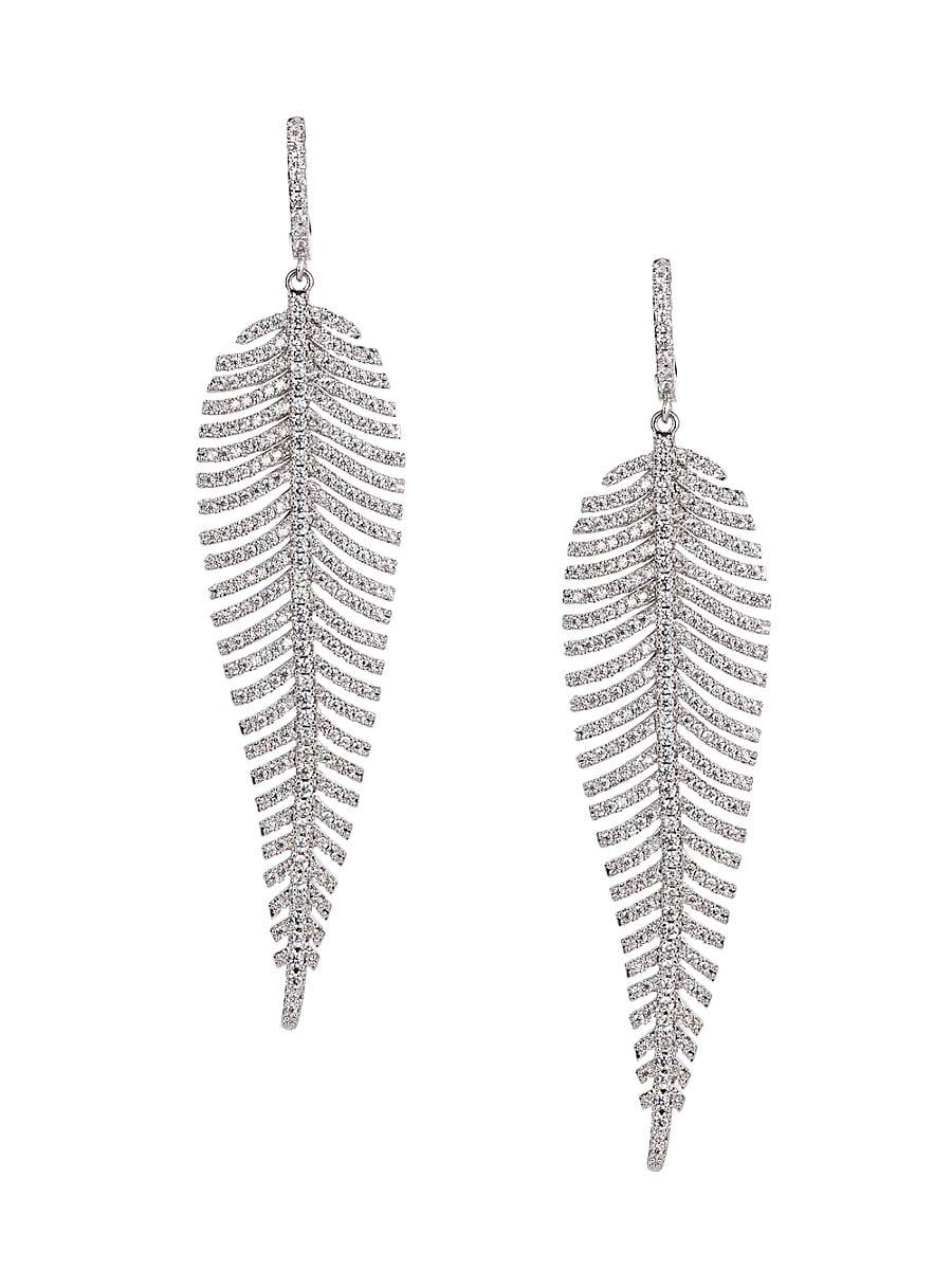 Women's Luxe Silvertone & Crystal Drop Earrings