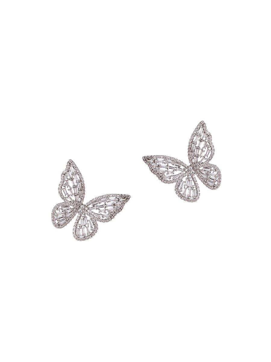Women's Luxe Calista Butterfly Silvertone & Crystal Stud Earrings