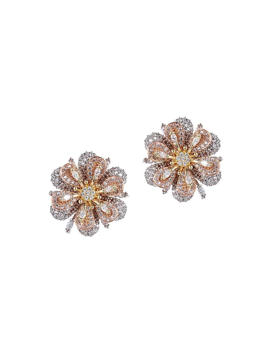 Women's Luxe Crystal Flower Stud Earrings