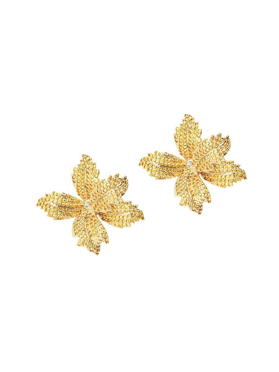 Women's Luxe Flower Crystal Stud Earrings