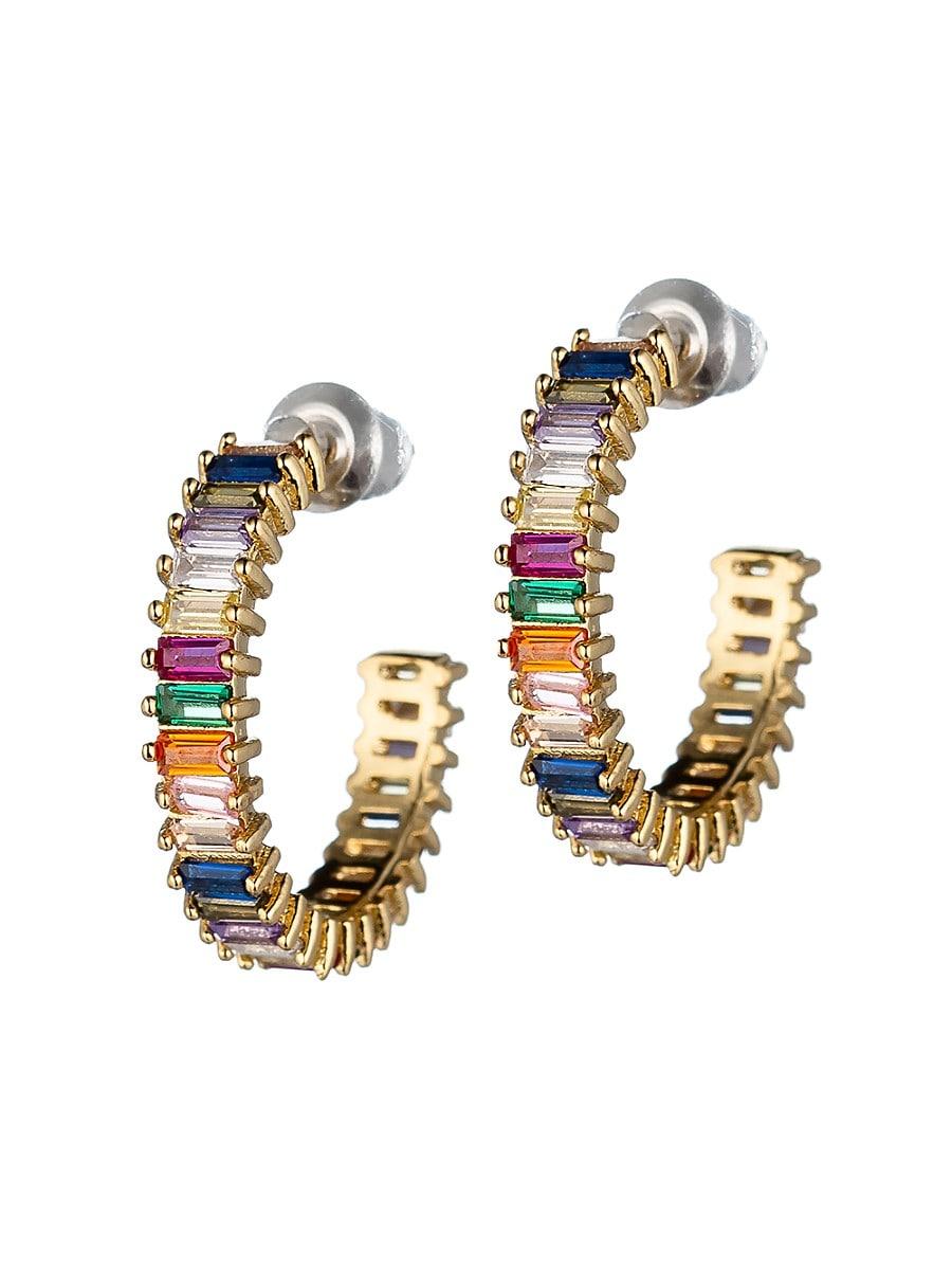 Women's Luxe Rainbow Crystal Hoop Earrings