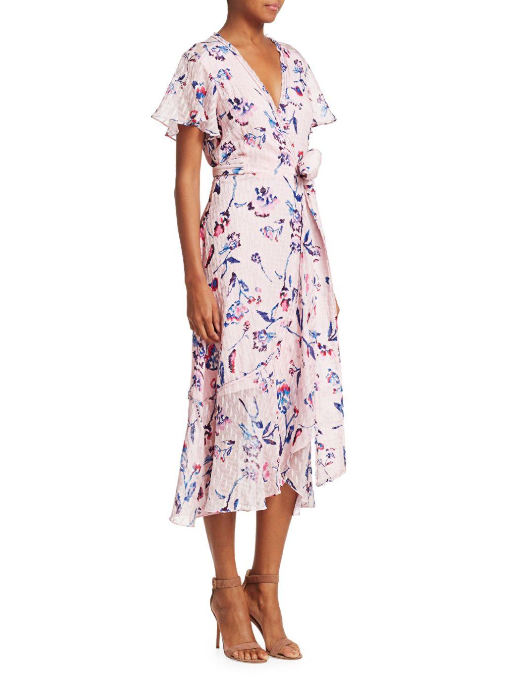 Tanya Taylor Blaire Floral Wrap Midi Dress