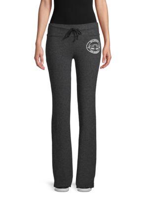 Wildfox Graphic Logo Fleece Jogging Pants In Clean Black