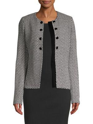 St. John Jackets Mod Herringbone Knit Jacket