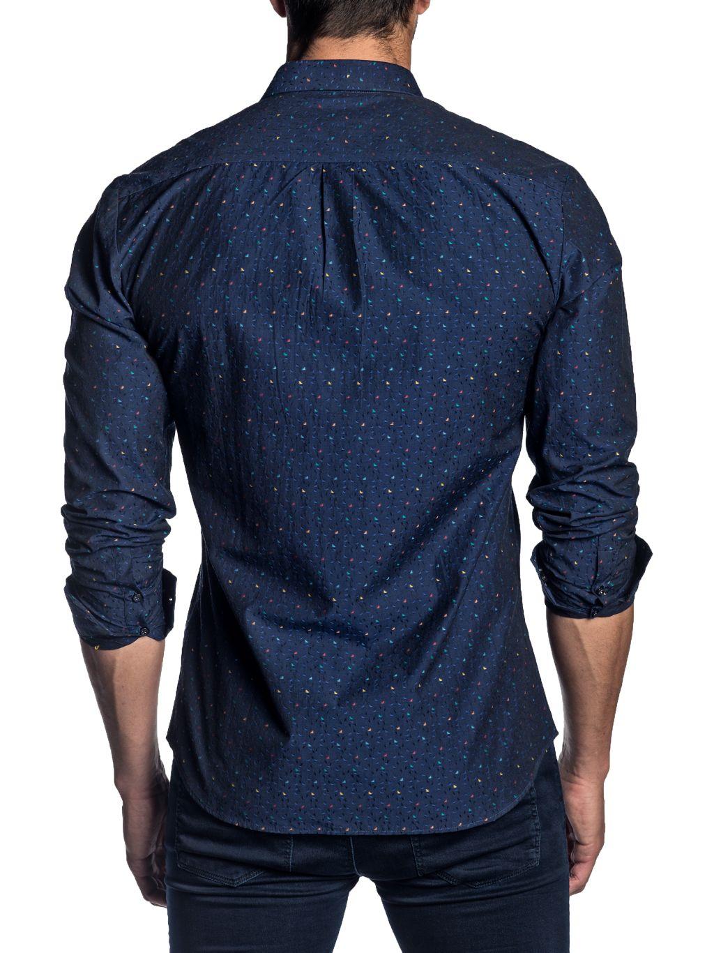 Jared Lang Semi-Fit Jacquard Long-Sleeve Shirt
