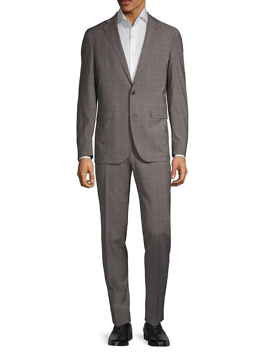 Men's Modern-Fit Plaid Wool-Blend Suit