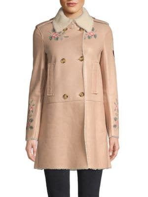 Red Valentino Coats Shearling-Trim Leather Coat
