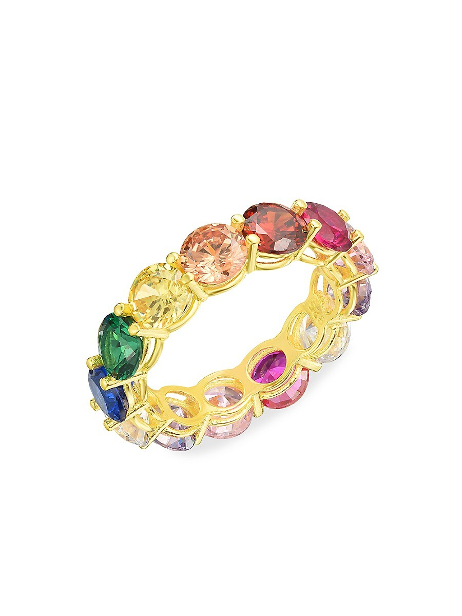 Women's 14K Goldplated Sterling Silver & Rainbow Crystal Eternity Band Ring