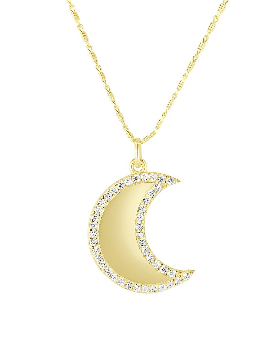 Women's Moon 14K Goldplated Sterling Silver & Crystal Pendant Necklace