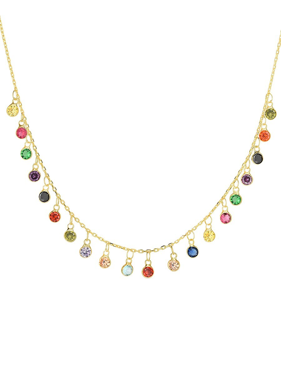 Women's 14K Goldplated Sterling Silver & Crystal Rainbow Statement Necklace