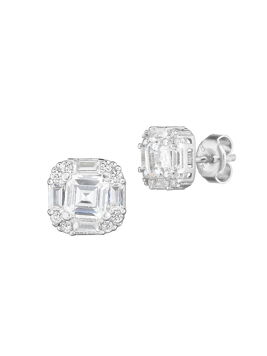 Women's Sterling Silver & Crystal Stud Earrings