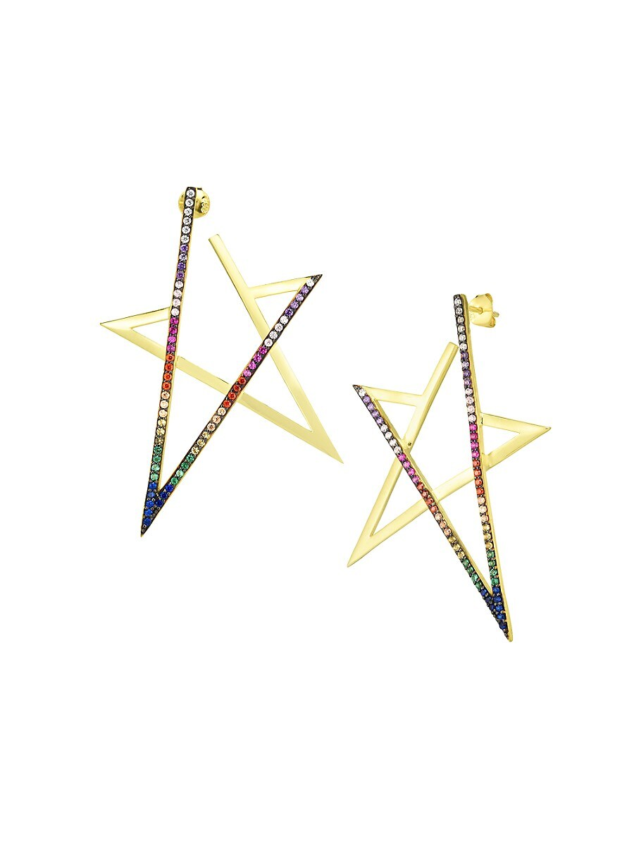 Women's 14K Goldplated Sterling Silver & Crystal Star Drop Earrings