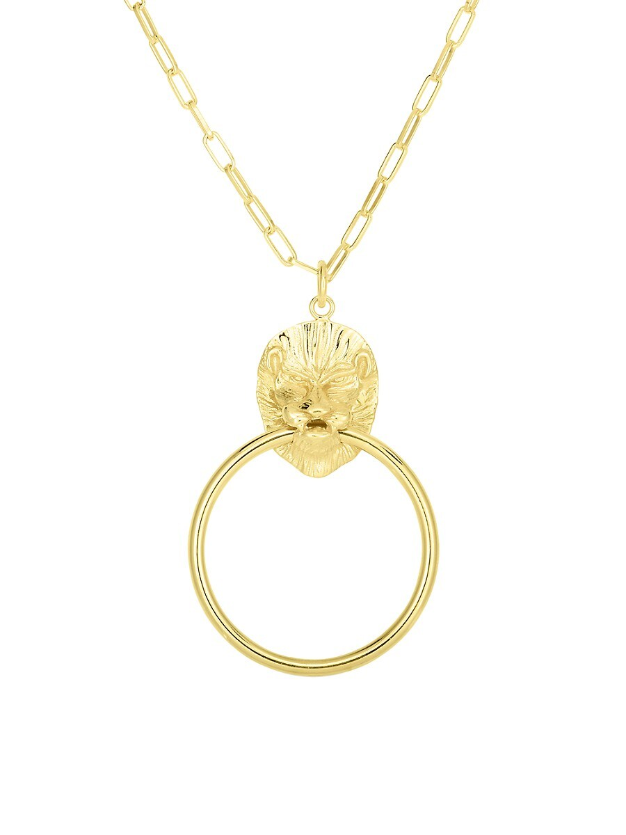 Women's 14K Goldplated Sterling Silver Lion Pendant Necklace