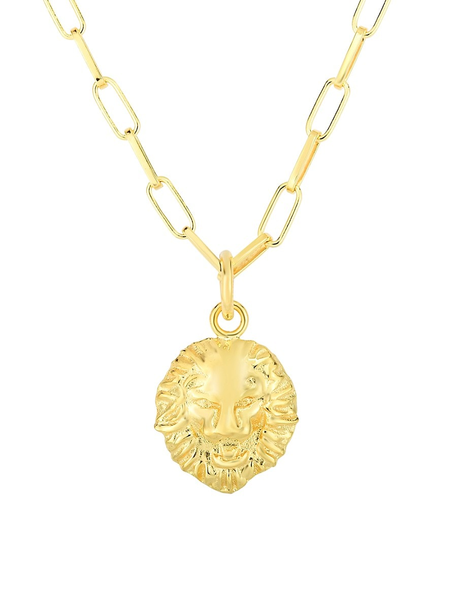 Women's 14K Goldplated Sterling Silver Lion Head Pendant Necklace