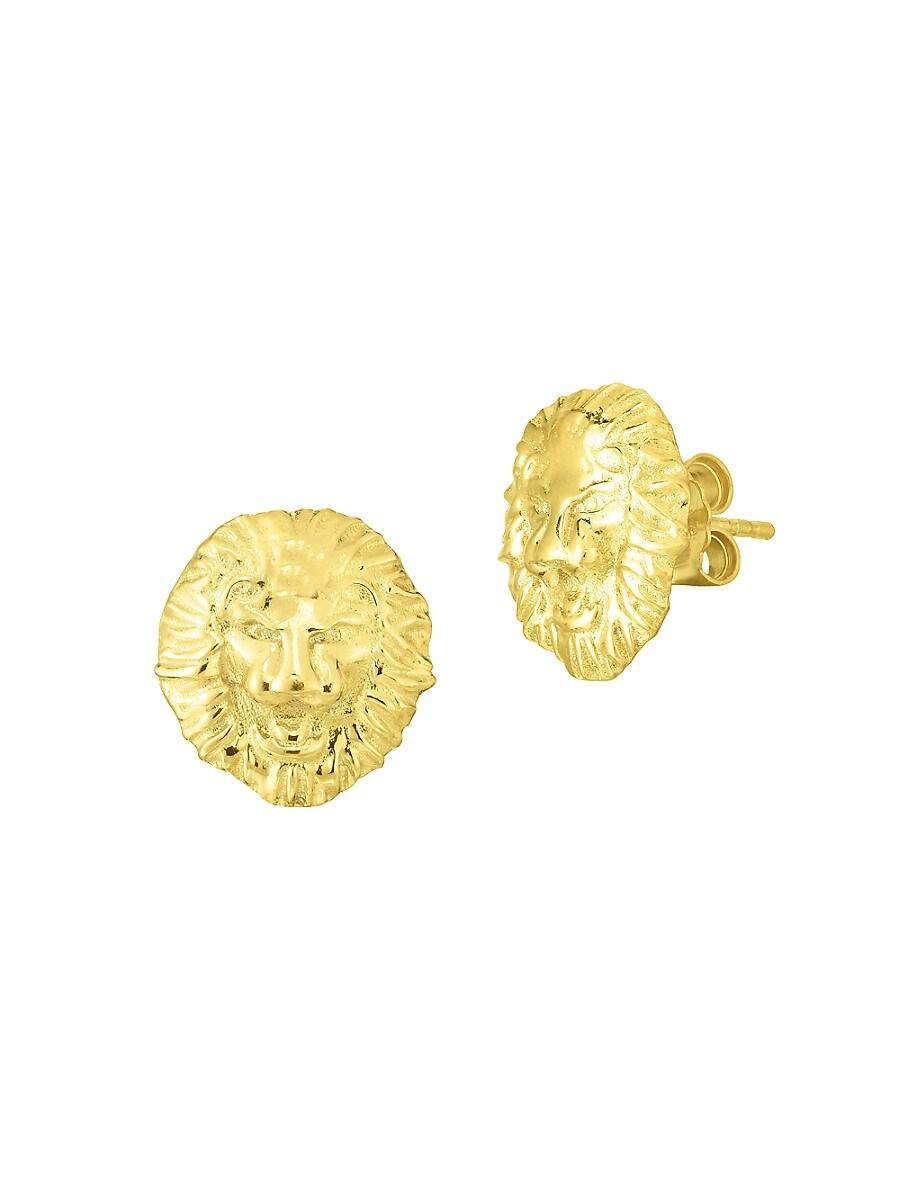 Women's 14K Goldplated Sterling Silver Lion Stud Earrings