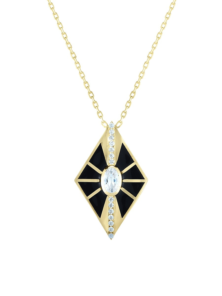Women's 14K Goldplated Sterling Silver & Crystal Pendant Necklace