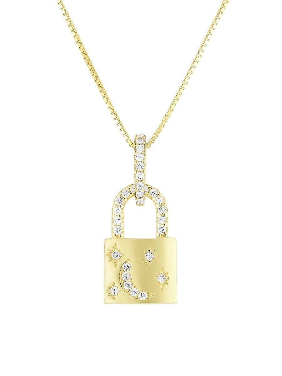 Women's 14K Goldplated Sterling Silver & Crystal Padlock Pendant Necklace
