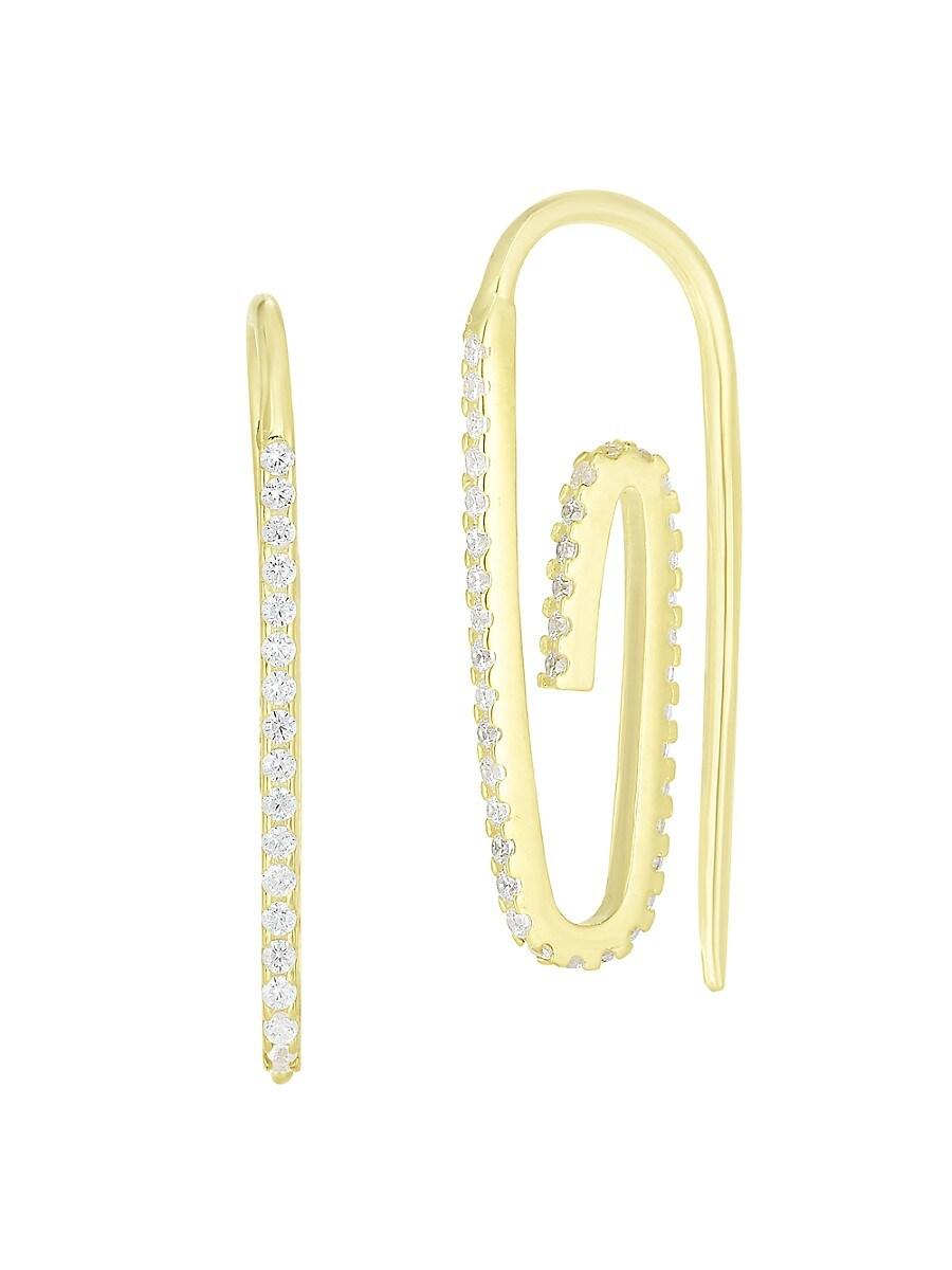 Women's Paper Clip 14K Goldplated Sterling Silver & Crystal Threader Earrings