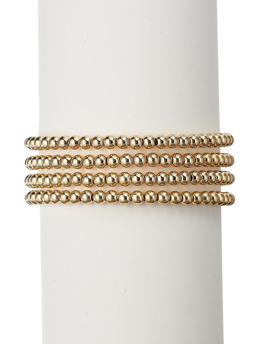 Women's Luxe 18K Goldplated Adjustable Beaded Bracelet