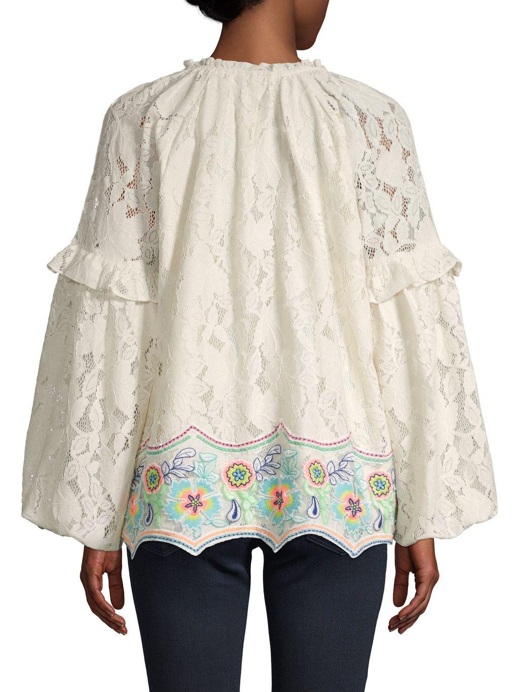 Hemant & Nandita Lace Wide Raglan-Sleeve Cotton Top