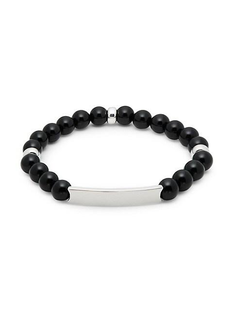Saks Fifth Avenue Sterling Silver & Black Onyx Bead ID Bracelet
