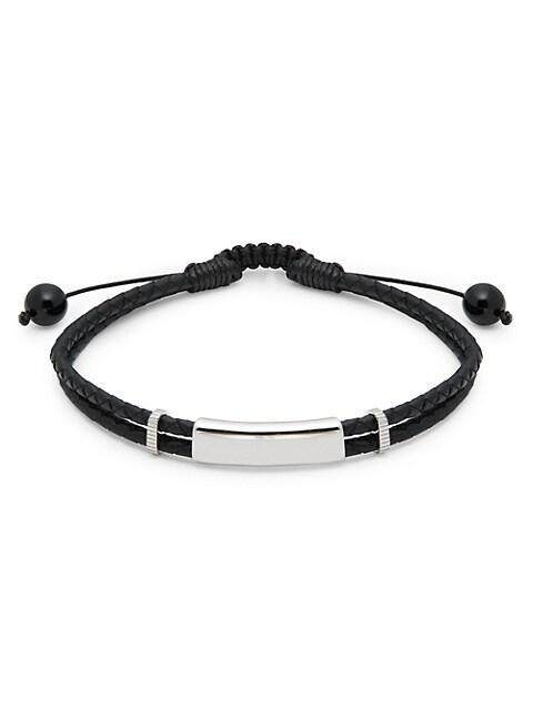 Saks Fifth Avenue Sterling Silver, Black Onyx & Leather Bracelet