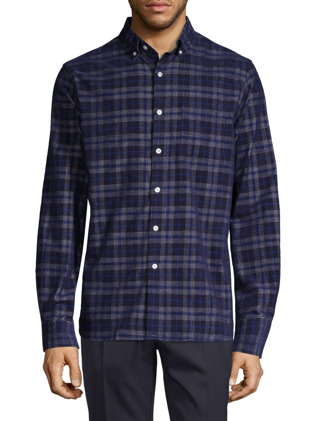 Hickey Freeman Plaid Long-Sleeve Shirt