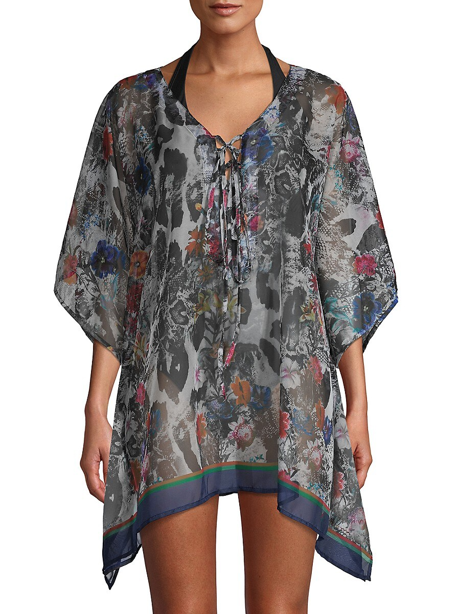 Women's Printed Lace-Up Coverup