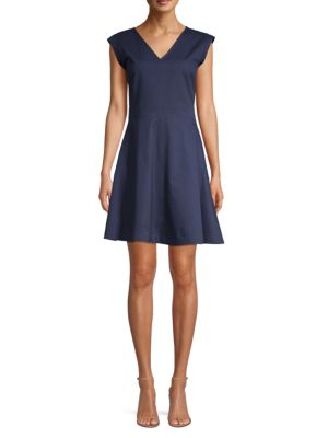 Draper James Fit-and-flare Cotton Chino Dress In Nassau Navy