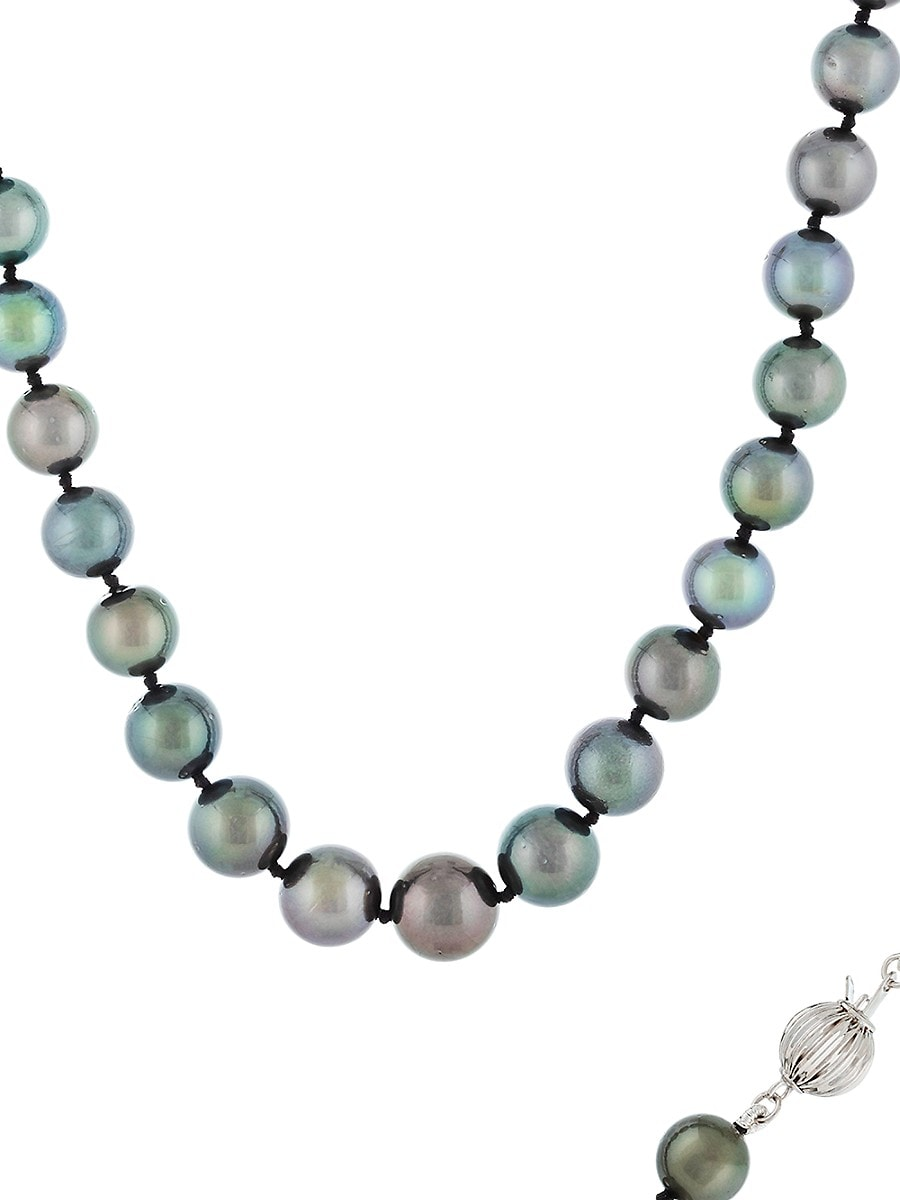 """Women's 14K White Gold & 8-11MM Tahitian Pearl Single-Strand Necklace/18"""""""