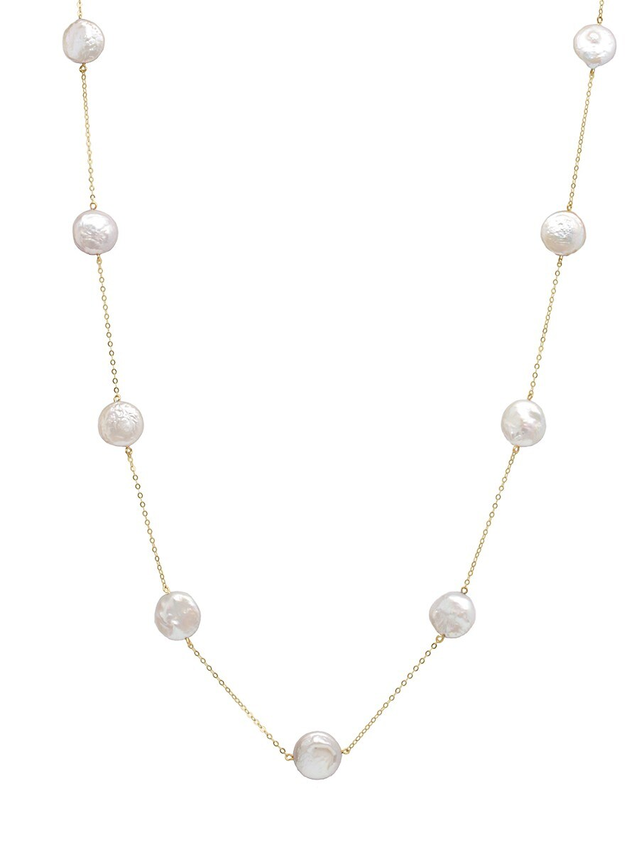 Women's 14K Yellow Gold & 10-11MM Cultured Freshwater Pearl Station Necklace