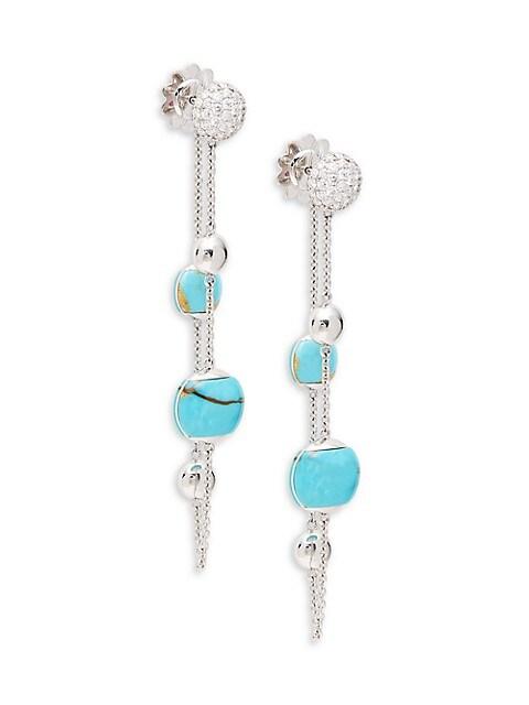 Roberto Coin 18K White Gold, Turquoise & Diamond Drop Earrings