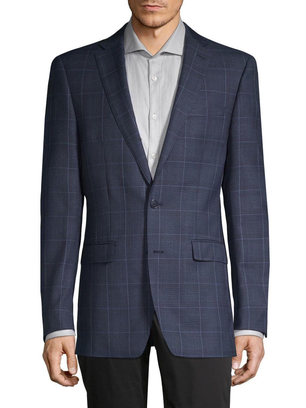 Calvin Klein Slim-Fit Windowpane Wool-Blend Blazer