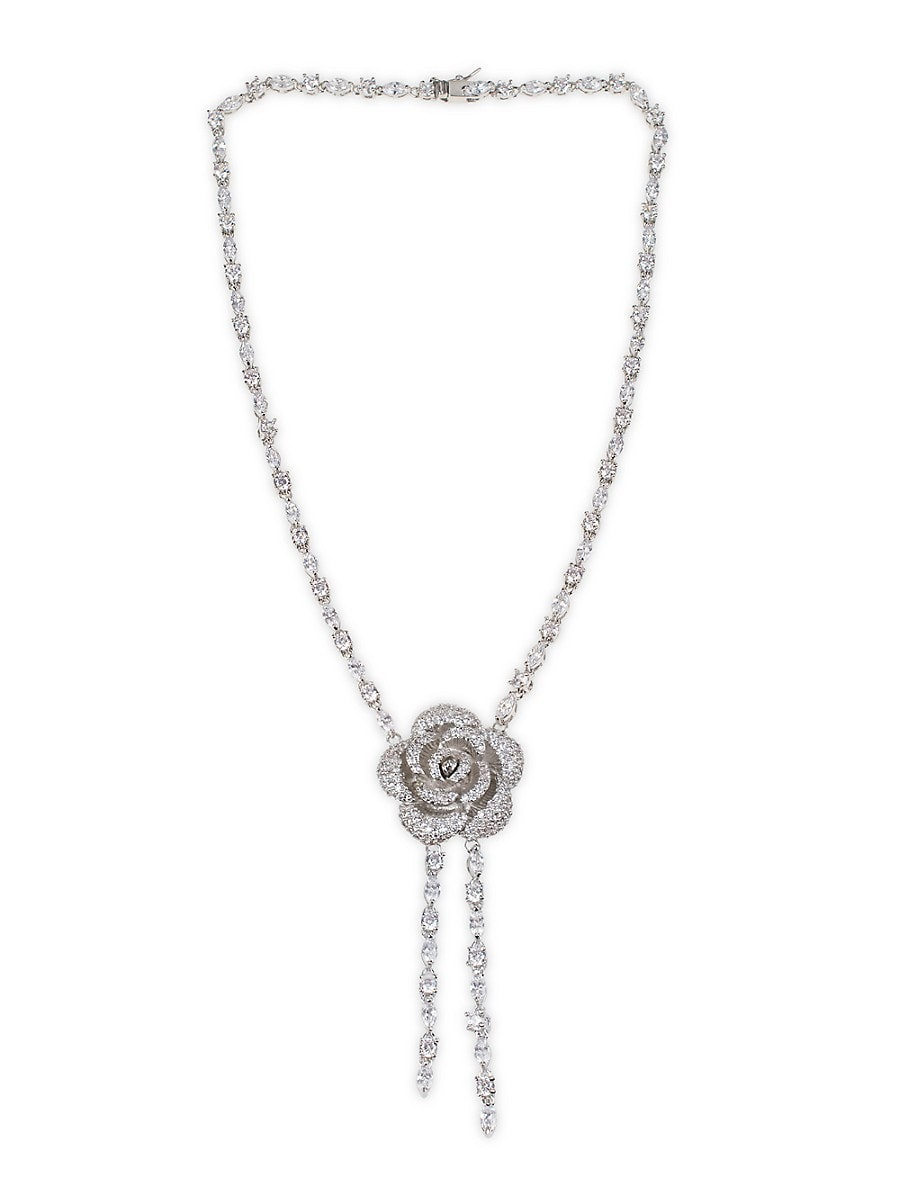 Women's Rhodium-Plated & Crystal Flower Necklace