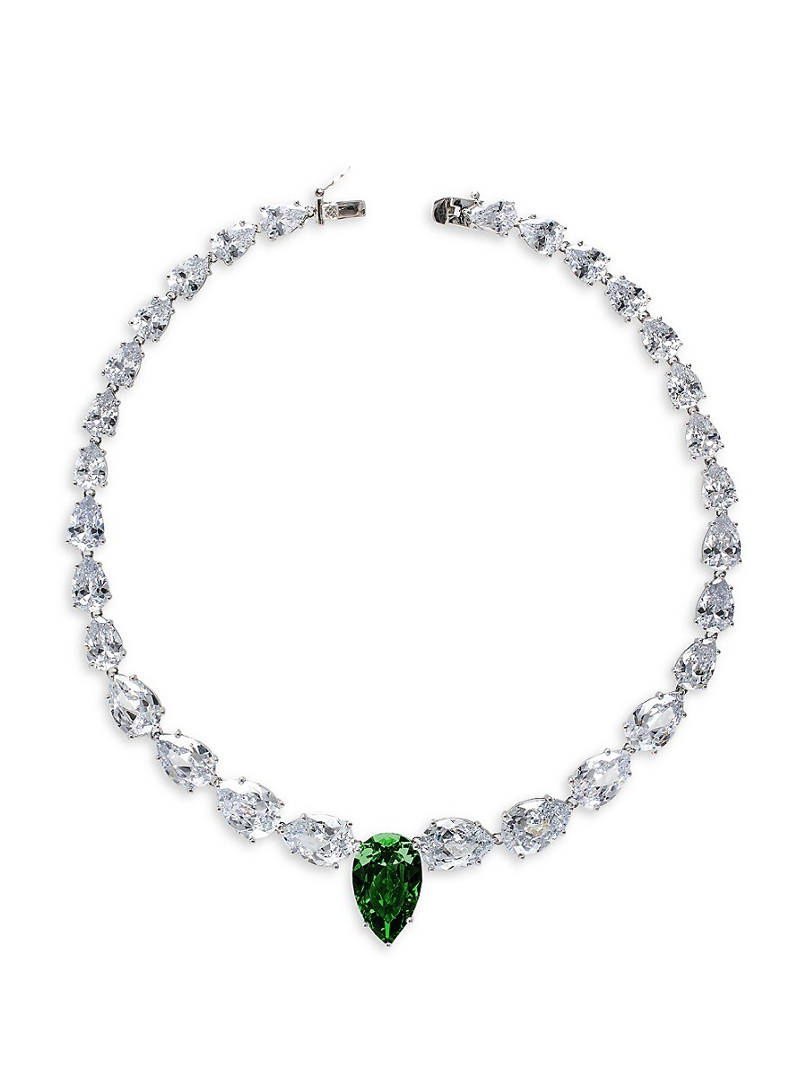 Women's Rhodium-Plated & Crystal Graduated Statement Pear Necklace