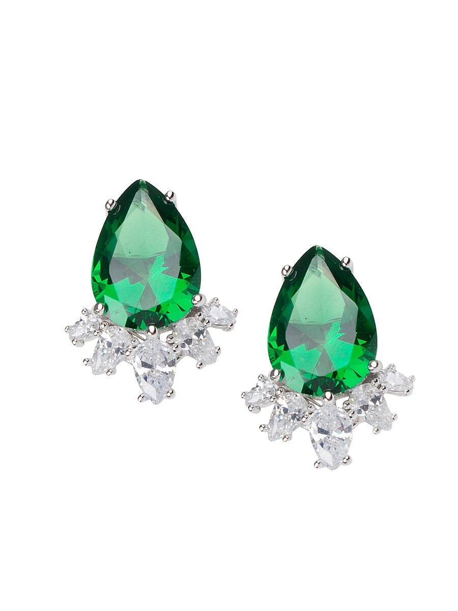 Women's Rhodium-Plated & Crystal Statement Pear Earrings