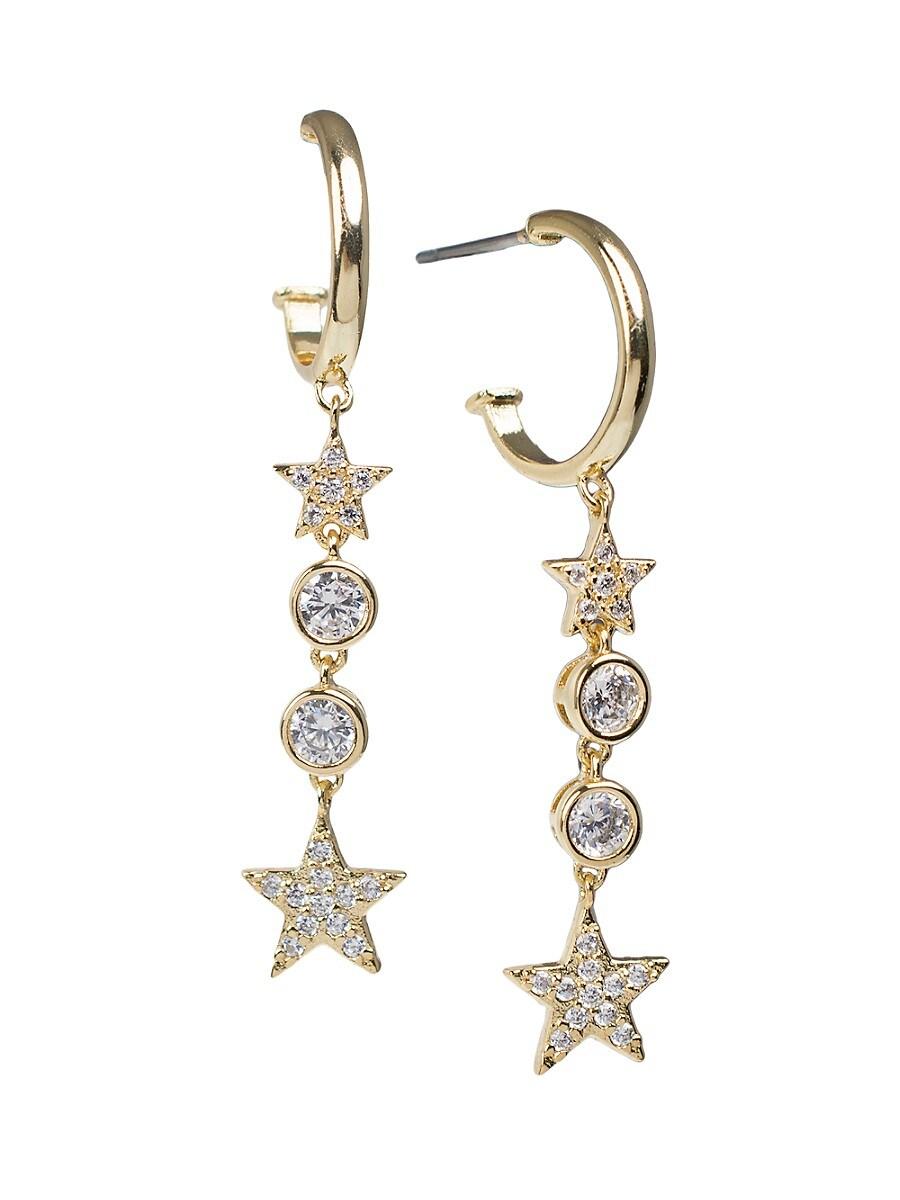 Women's 18K Goldplated & Cubic Zirconia Half Hoop Star Drop Earrings