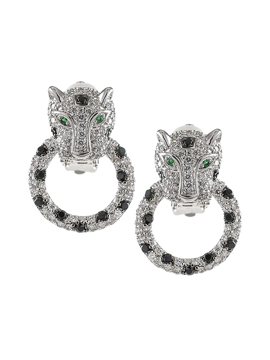 Women's Cubic Zirconia Leopard Door Knocker Earrings