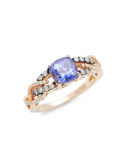 Le Vian Link Chocolatier® 14K Strawberry Gold® Blueberry Tanzanite®, Chocolate Diamonds® & Vanilla Diamonds® Ring
