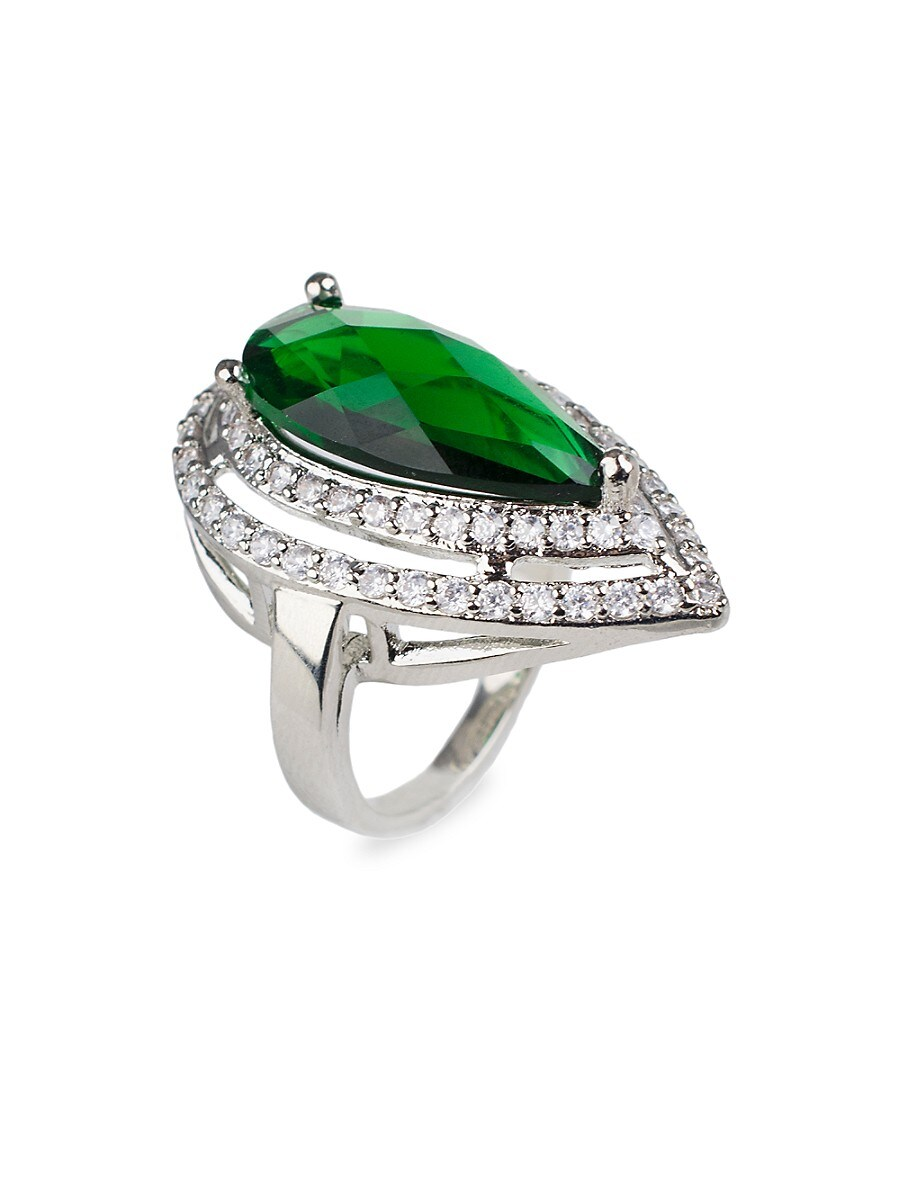 Women's Rhodium-Plated & Crystal Statement Pear Ring