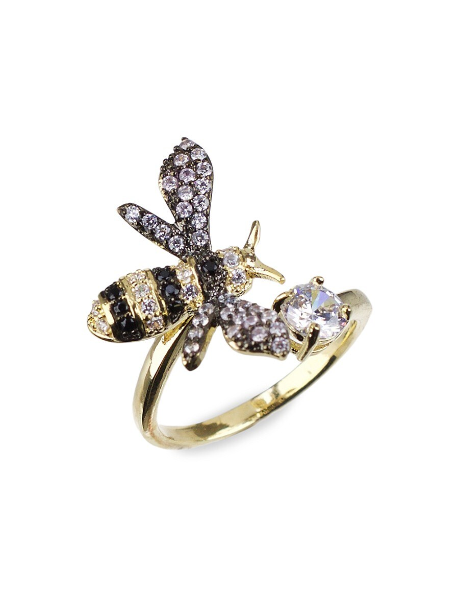 Women's 18K Goldplated & Rhodium-Plated Crystal Bee Ring