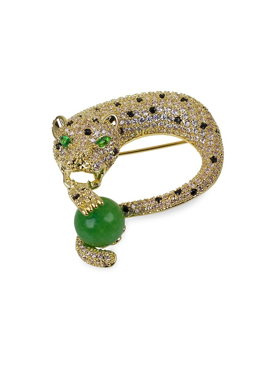 Women's 18K Goldplated & Crystal Panther Brooch