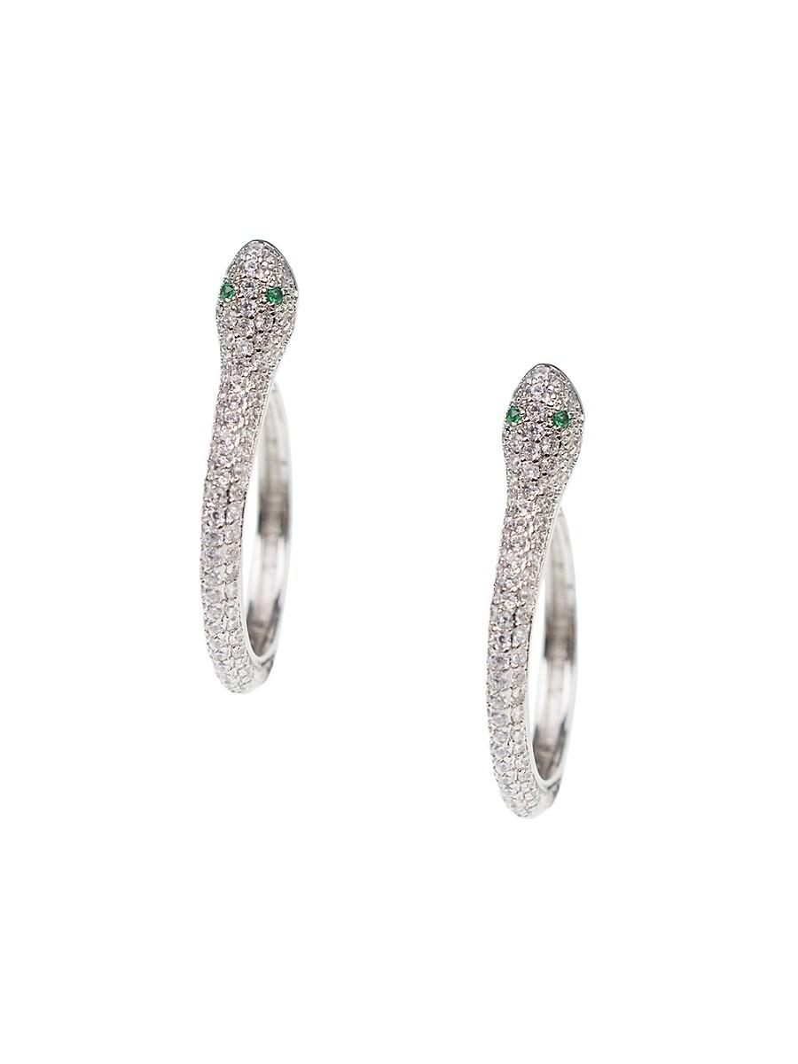 Rhodium-Plated & Crystal Snake Hoop Earrings