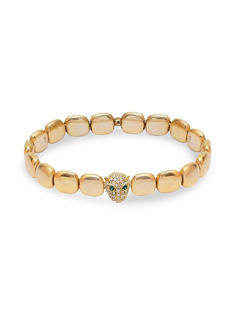 Women's 22K Gold Vermeil & Cubic Zirconia Panther Chiclet Bracelet