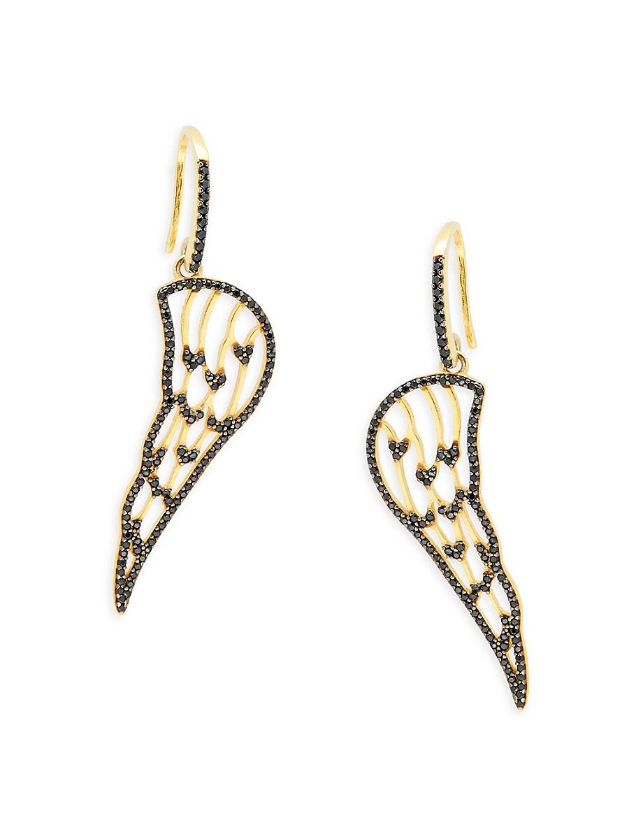 Women's 22K Gold Vermeil & Cubic Zirconia Angel Wing Drop Earrings