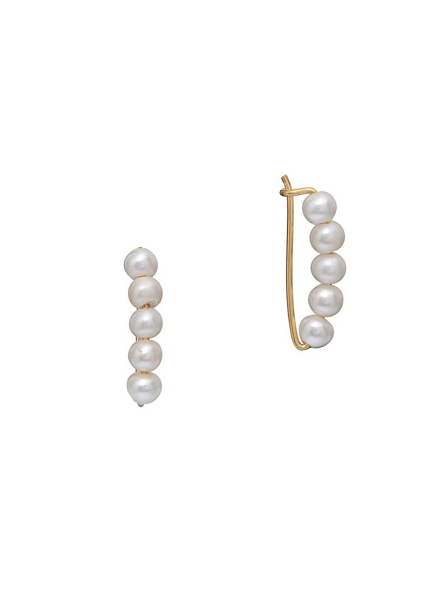 Women's 22K Gold Vermeil & 5MM Round Freshwater Pearl Wire Earrings
