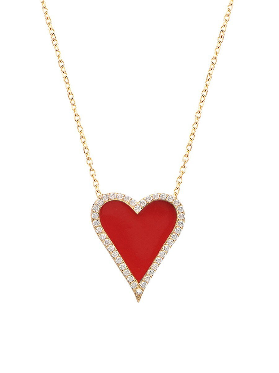 Women's Yellow Gold Dipped Enamel & Cubic Zirconia PavéHeart Pendant Necklace