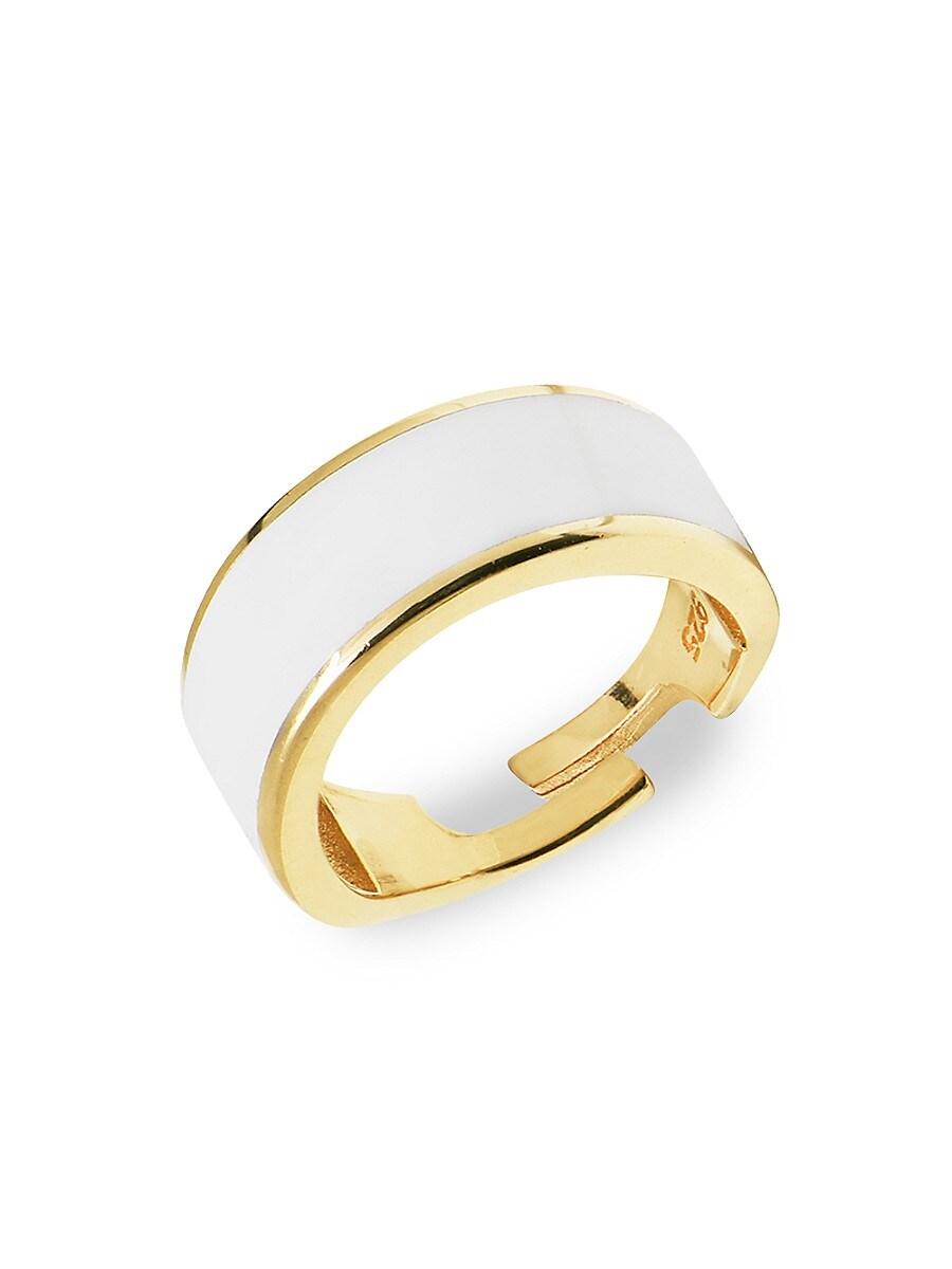 Women's 22K Gold Vermeil & Enamel Adjustable Cigar Band Ring